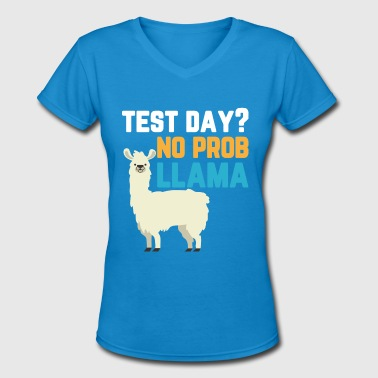 Test Day No Prob Llama Shirt - Women's V-Neck T-Shirt