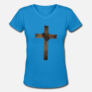 Wooden Leg Wooden cross - Women's V-Neck T-Shirt