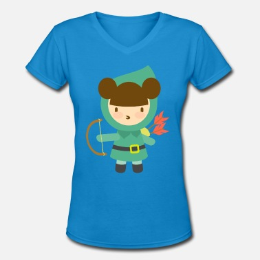 Girls Crossbow Cute Girl Archer - Women's V-Neck T-Shirt