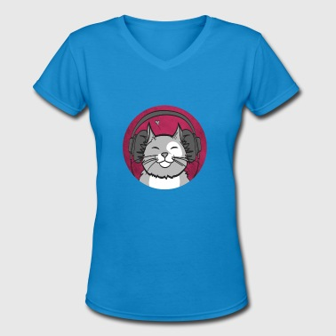 cat cats love music player gift - Women's V-Neck T-Shirt