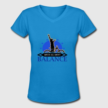 Bike - Biking - Biker - Balance - Tee - Women's V-Neck T-Shirt