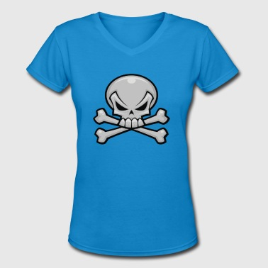 Skull and Crossbones - Women's V-Neck T-Shirt