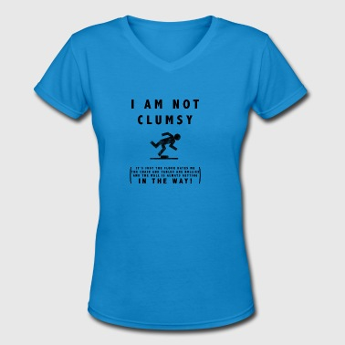 Tripped And Fall I am not clumsy tripping falling over T-Shirt - Women's V-Neck T-Shirt