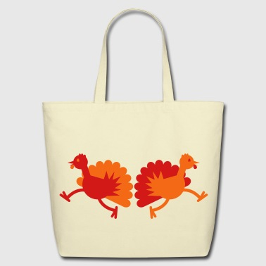Thanksgiving Turkey Birds two running away! - Eco-Friendly Cotton Tote