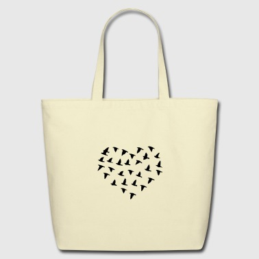 Heart Flock of Birds - Eco-Friendly Cotton Tote