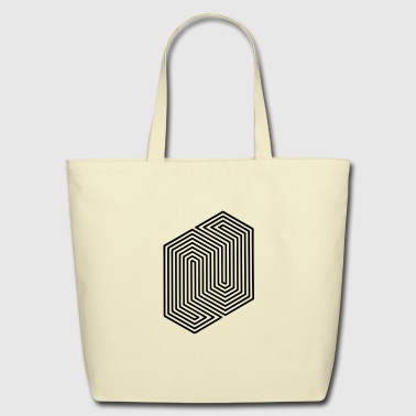 Optical Illusion (Impossible Minimal B & W Lines) - Eco-Friendly Cotton Tote