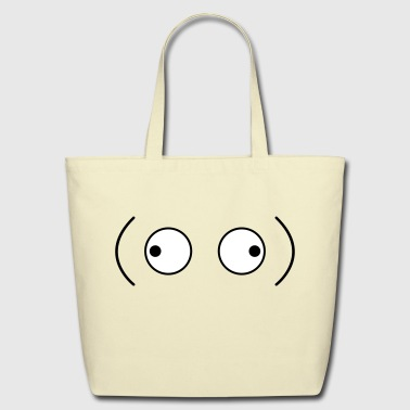 crazy googly eyes looking outwards - Eco-Friendly Cotton Tote