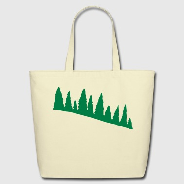 Green Pine Tree Line - Eco-Friendly Cotton Tote