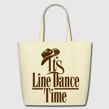 ITS LINE DANCE TIME, COWBOY HAT - Eco-Friendly Cotton Tote
