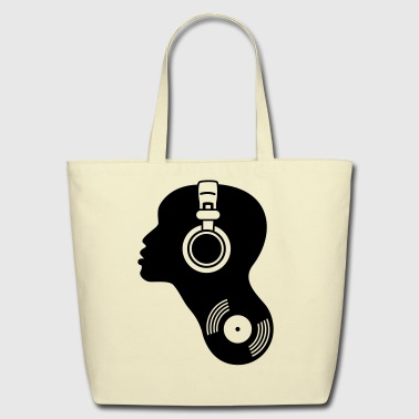 dj music turntable head woman sexy headphones electronic techno hip hop club dance dsicjockey record vinyl nightlife lips  - Eco-Friendly Cotton Tote
