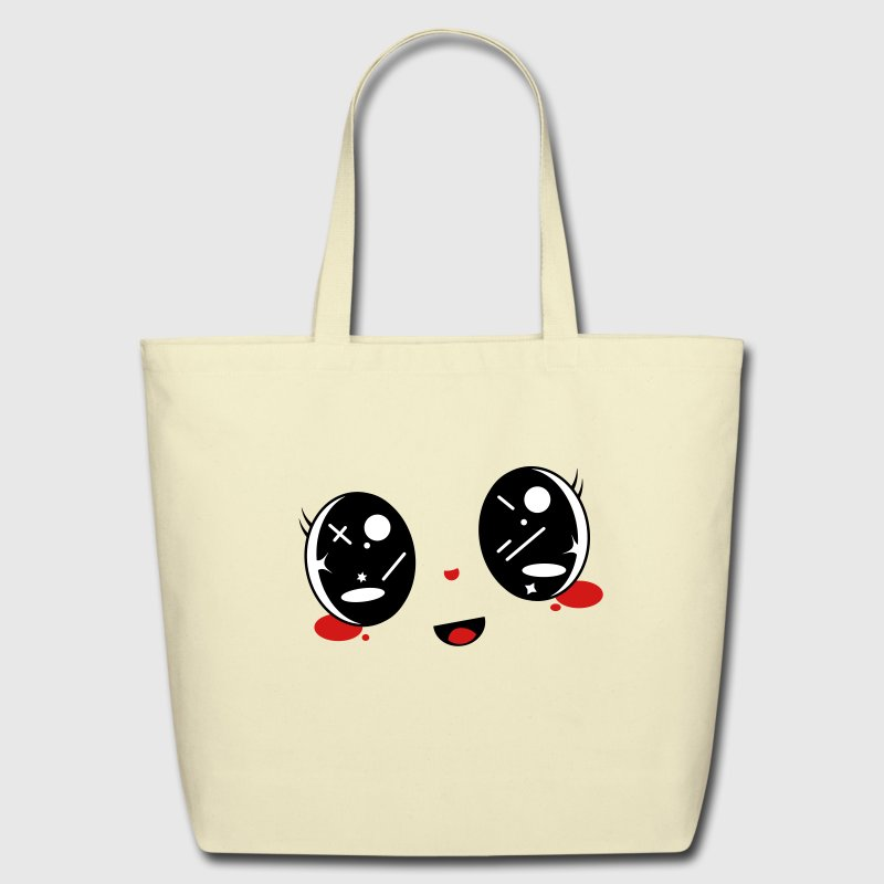 cute Kawaii face - Eco-Friendly Cotton Tote