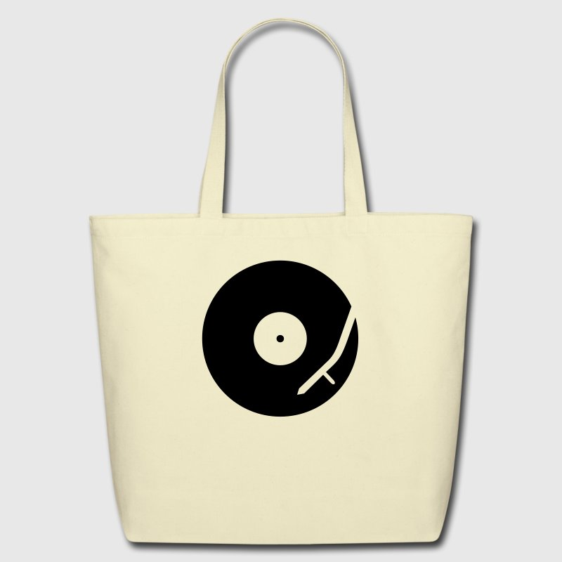 headphones record disc platter disk dj record play techno minimal club music spin - Eco-Friendly Cotton Tote