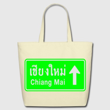 Chiang Mai Chiang Mai, Thailand / Highway Road Traffic Sign - Eco-Friendly Cotton Tote