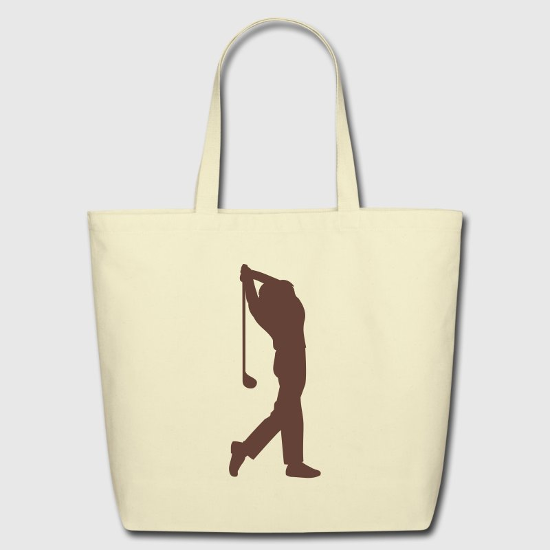 male golfer silhouette - Eco-Friendly Cotton Tote