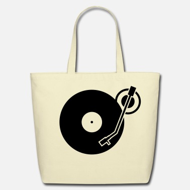 Hip Hop headphones record disc platter disk dj record play techno minimal - Eco-Friendly Cotton Tote
