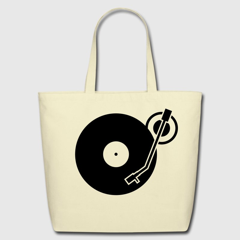 headphones record disc platter disk dj record play techno minimal - Eco-Friendly Cotton Tote