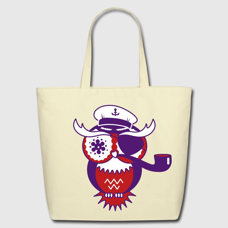 An owl with captain's hat, eye patch and pipe tobacco - Eco-Friendly Cotton Tote