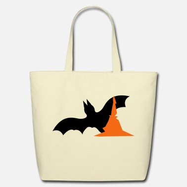 Halloween Halloween bat with witches hat  - Eco-Friendly Cotton Tote