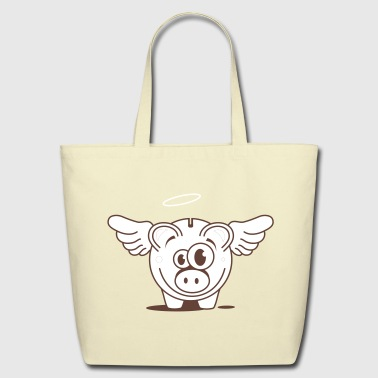 A funny piggy bank with wings  - Eco-Friendly Cotton Tote