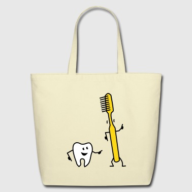 tooth and toothbrush - Eco-Friendly Cotton Tote