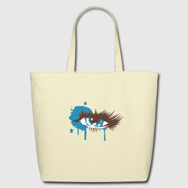 A colored eye with long eyelashes - Eco-Friendly Cotton Tote