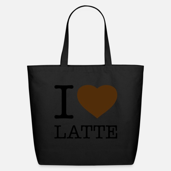 Coffee Bean Bags & Backpacks - I LOVE LATTE - Eco-Friendly Tote Bag black
