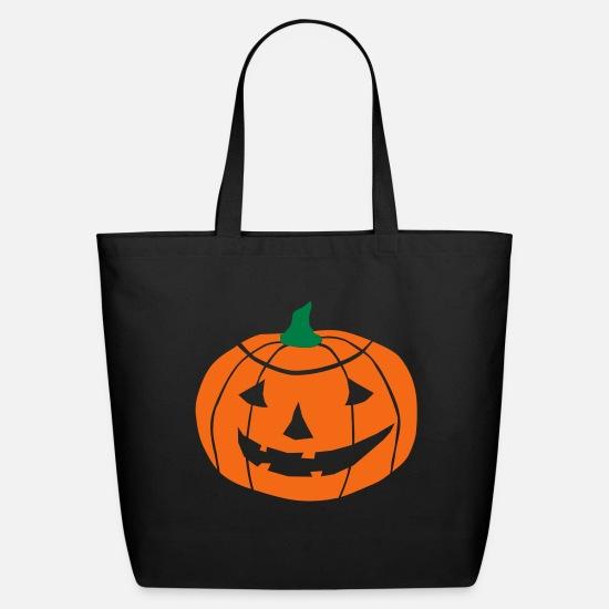 Halloween Pumpkin Vector.2 Color Halloween Pumpkin Vector Eco Friendly Cotton Tote Black