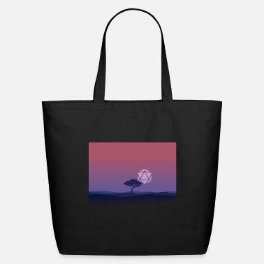 Dice Lonely Tree Sunset D20 Dice Sun RPG Landscape - Eco-Friendly Tote Bag