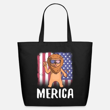 Patriot Merica Lion USA American Flag - Eco-Friendly Tote Bag