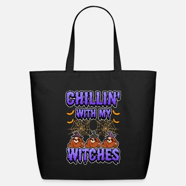 Happy Chillin With My Witches Halloween Funny Sloth - Eco-Friendly Tote Bag