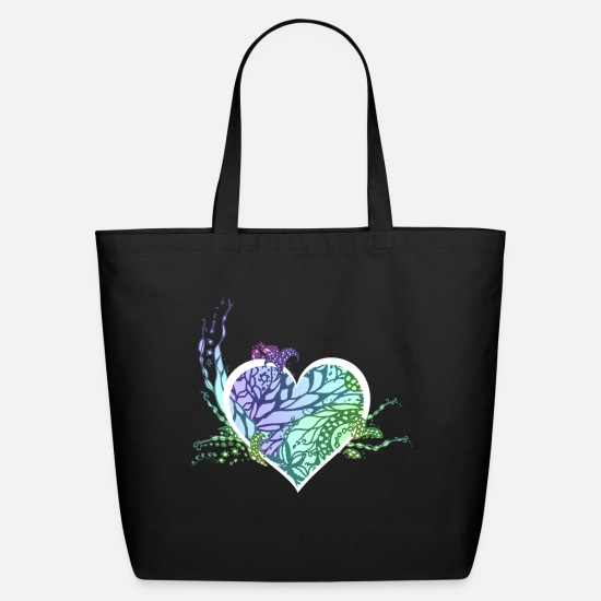 Fairy Bags & Backpacks - romantic fairy tale heart flowers - Eco-Friendly Tote Bag black