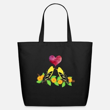 Pink Heart Goldfinch bird flower leaves red pink heart - Eco-Friendly Tote Bag