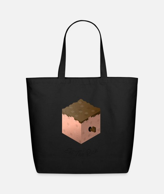 Quote Bags & Backpacks - Eat The Rich Pixelated Worm - Eco-Friendly Tote Bag black