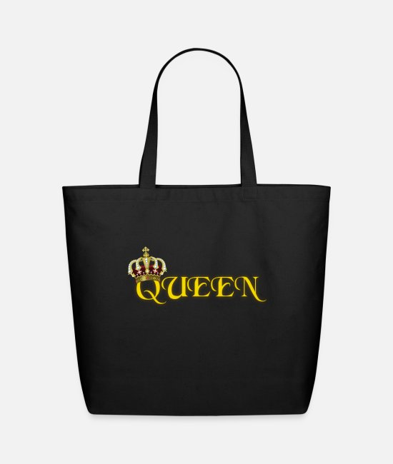 Rap Bags & Backpacks - GOLD QUEEN CROWN GEMS AND DIAMONDS - Eco-Friendly Tote Bag black