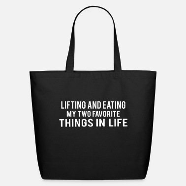 Funny Gym POWERLIFTING : lifting and eating - Eco-Friendly Tote Bag