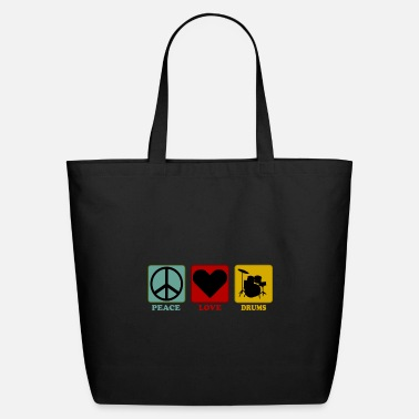 Heavy Metal Drummer Shirt Peace Love Gift for Drum Player - Eco-Friendly Tote Bag
