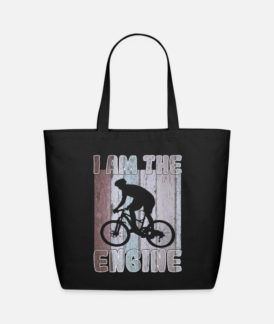 Cycling Bags & Backpacks - Mountain bike  cyclist I am the engine - Eco-Friendly Tote Bag black