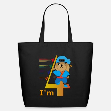 Congratulations I'm 4 - kawaii ninja dog kid baby birthday gift - Eco-Friendly Tote Bag