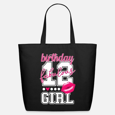 Number 12th birthday girl pink kiss college Style number - Eco-Friendly Tote Bag