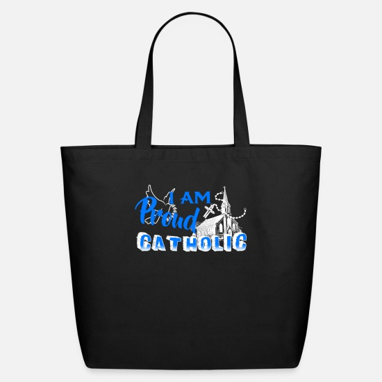 Catholic Bags & Backpacks - Proud Catholic Shirt - Eco-Friendly Tote Bag black
