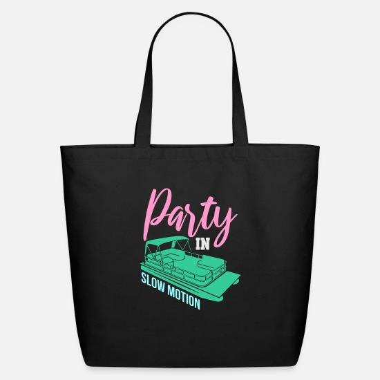 Party Bags & Backpacks - Party In Slow Motion - Pontoon Boat - Eco-Friendly Tote Bag black