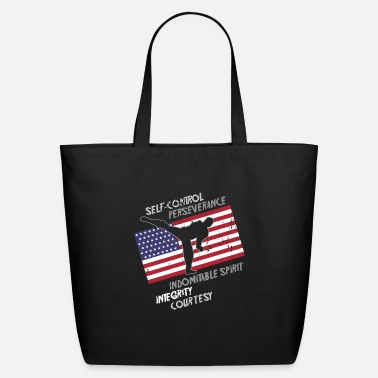 Judo Taekwondo 5 Tenets Martial Arts Sports USA Flag - Eco-Friendly Tote Bag