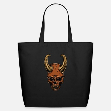 Scary Horned Scary Demon Skull Horror Halloween Gift - Eco-Friendly Tote Bag