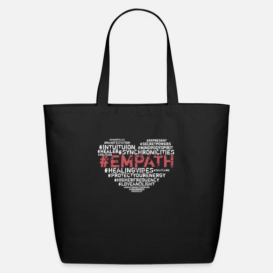 Empath Hashtags print Intuitive Psychic HSP Eco-Friendly Cotton Tote - black