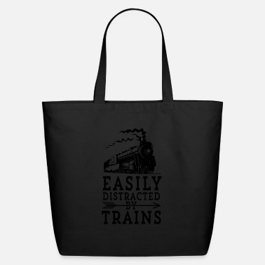 Steam Engine Locmotive Gift Easily Distracted By - Eco-Friendly Tote Bag