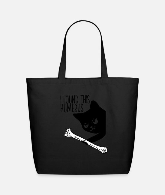 Cute Bags & Backpacks - I Found This Humerus - Puns Cute Funny Black Cat - Eco-Friendly Tote Bag black