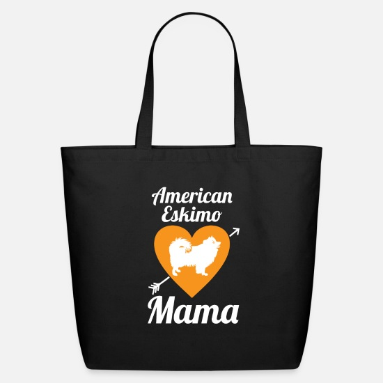Love Bags & Backpacks - American Eskimo Mama dog love dog - Eco-Friendly Tote Bag black