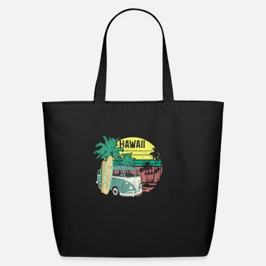 Beach Retro Hawaii Hippie Van Beach Surfer Longboard Alo - Eco-Friendly Tote Bag