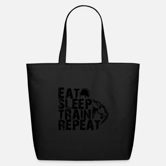 Motivation Bags & Backpacks - GIFT - EAT SLEEP TRAIN REPEAT 2 BLACK - Eco-Friendly Tote Bag black