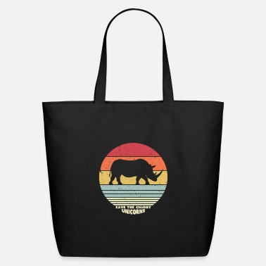 Plastic Save The Chubby Unicorns Design. Retro Style - Eco-Friendly Tote Bag